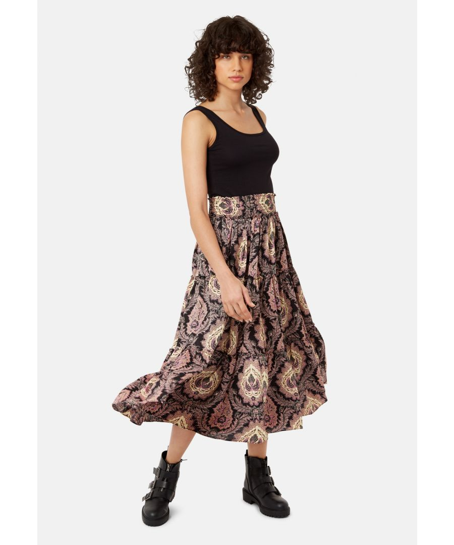 Image for Bell On Her Toes Paisley Boho Skirt in Black and Purple