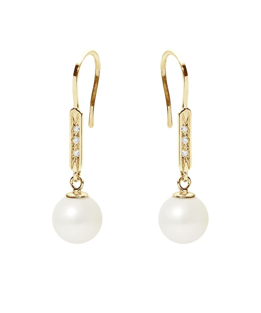 Image for White Freshwater Pearl, Diamonds Dangling Earrings and yellow gold 750/1000