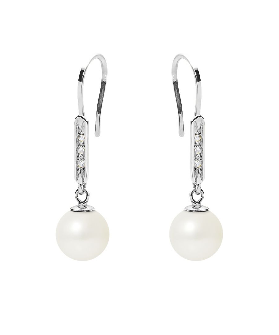Image for White Freshwater Pearl, Diamonds Dangling Earrings and white gold 750/1000
