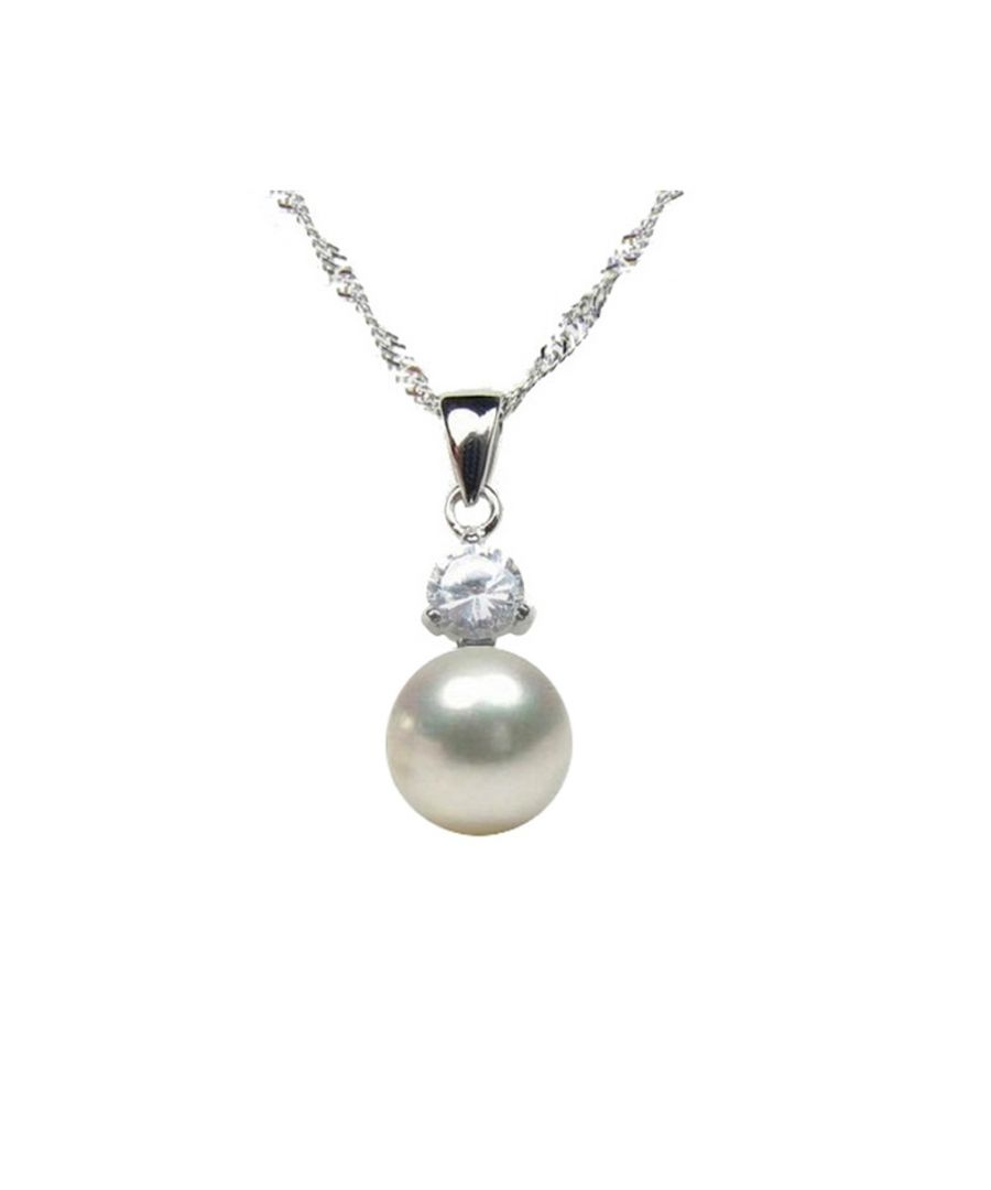 Image for White Freshwater Pearl Cubic Zirconia Pendant and Silver