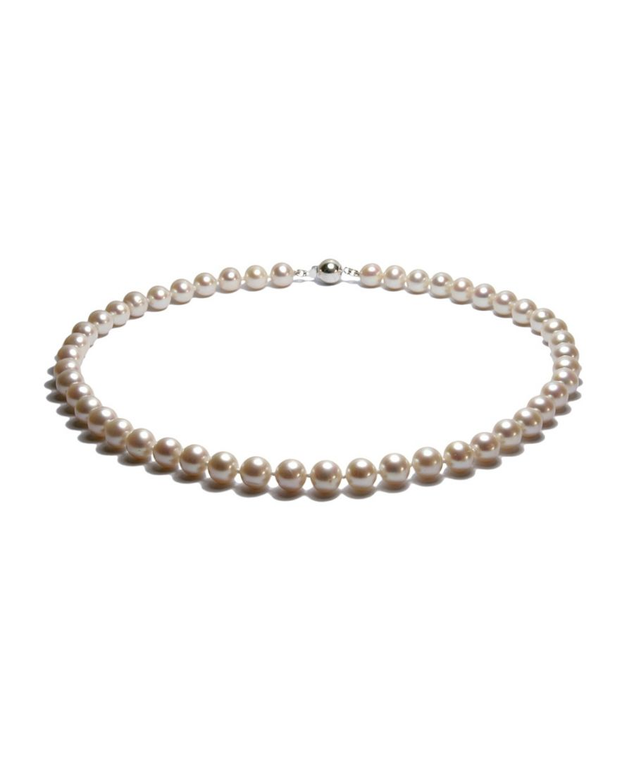 Image for White Freshwater Pearl Classical Necklace and 925 Silver