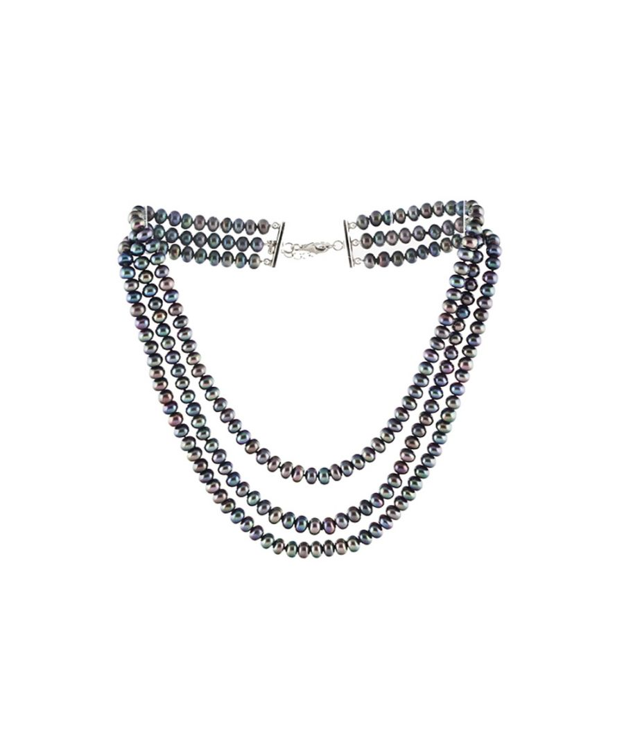 Image for Multi rows Black Freshwater Pearl Necklace and Silver Clasp