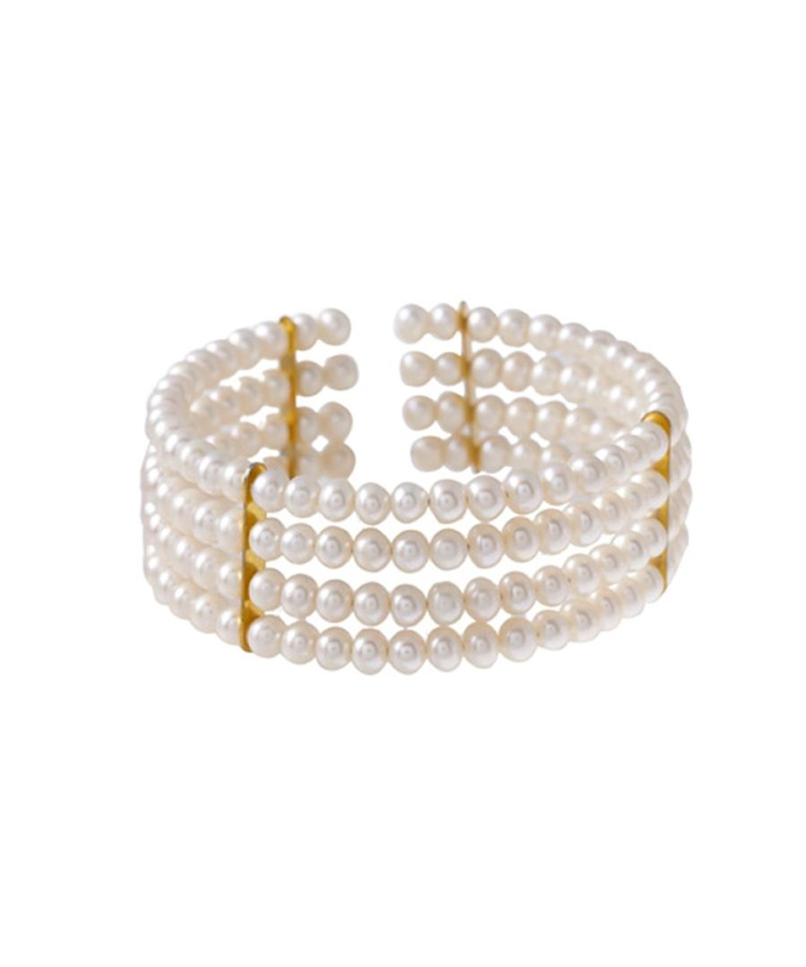 Image for White Freshwater Pearl 4 rows Bracelet and yellow Gold
