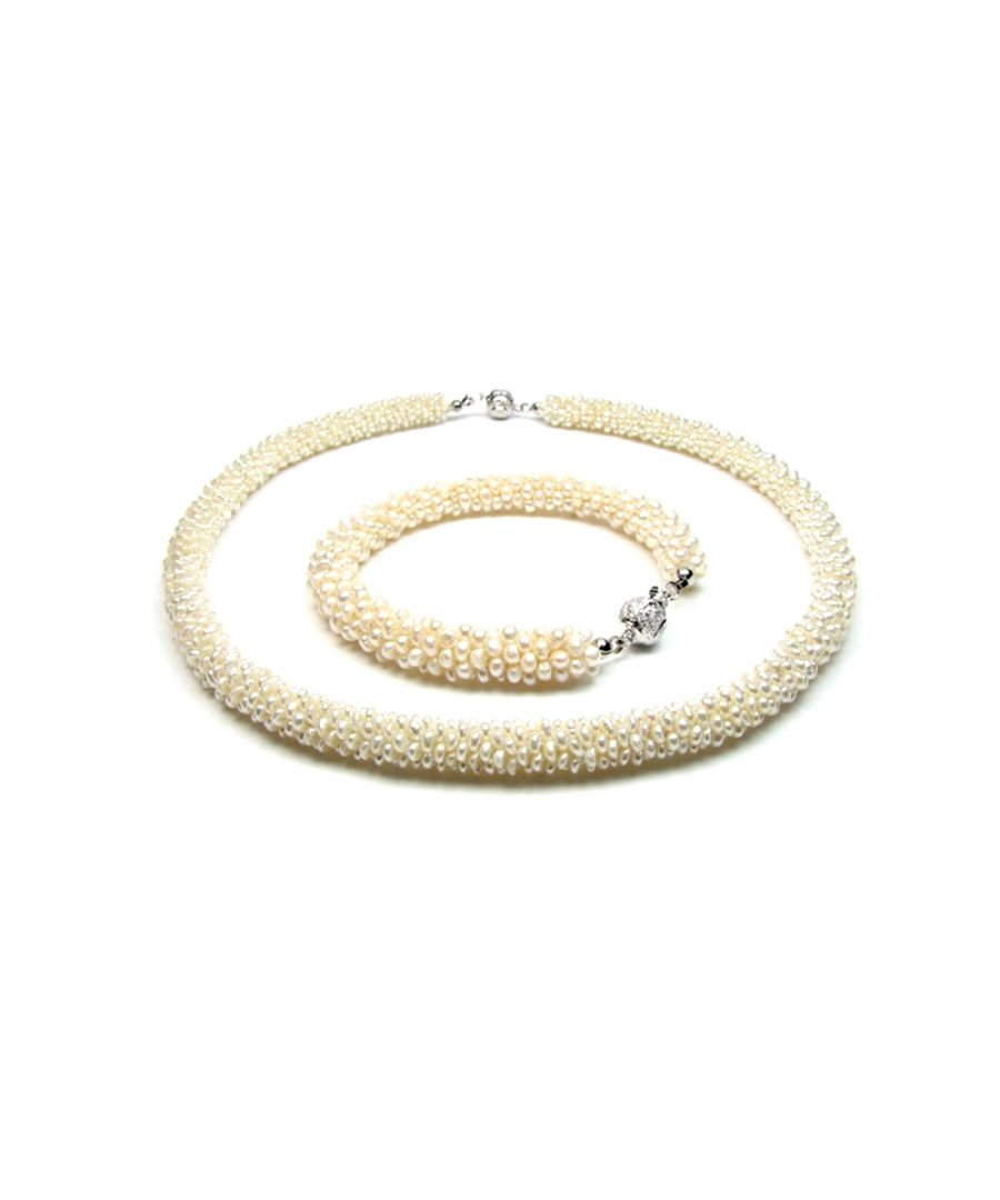 Image for White Multi Rows Freshwater Pearls Necklace and Bracelet Set and 925 Silver