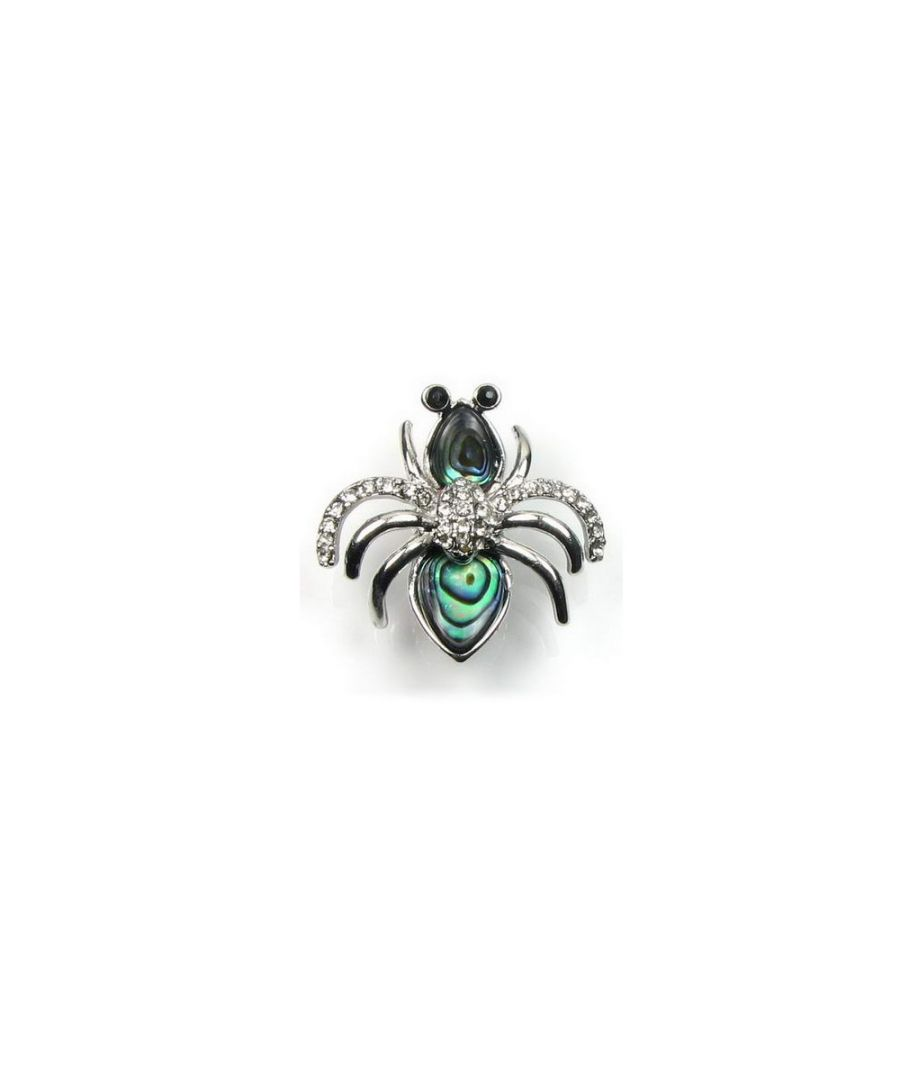 Image for Abalone and sparkling Cz Stone Bee Brooch and Silver Plated Copper Mounting