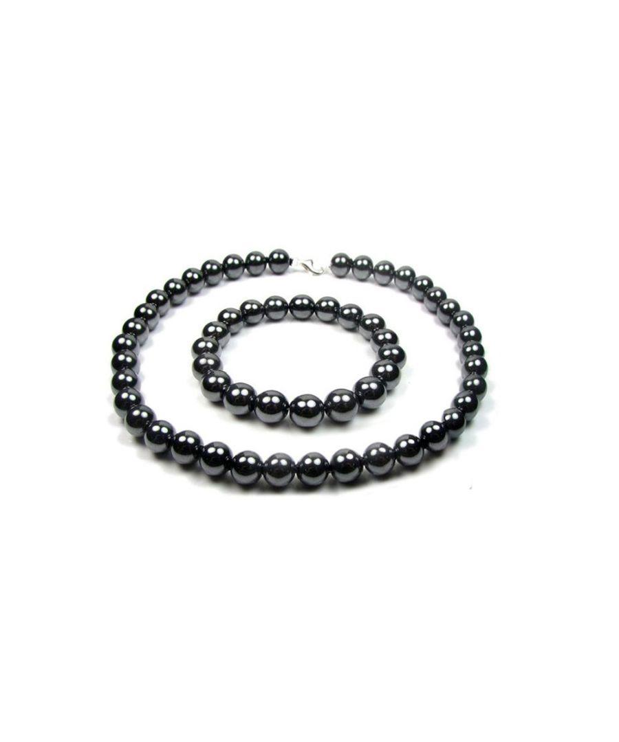 Image for Black Hematite Gemstone Necklace and Bracelet Set and 925 Silver