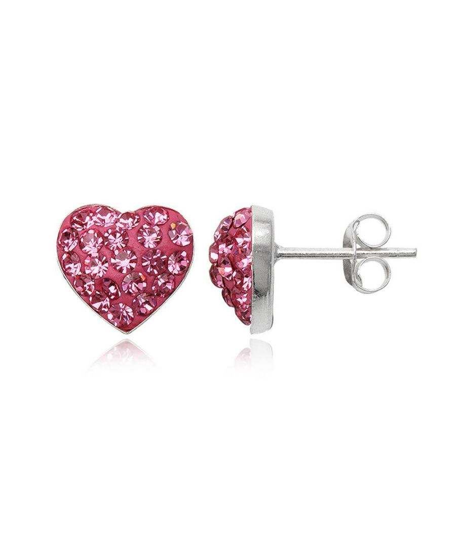 Image for Pink Crystal Heart and 925 Silver Earrings