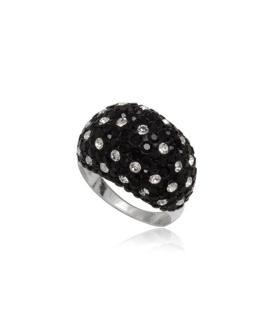 Image for Black and white Crystal Ring and 925 Silver