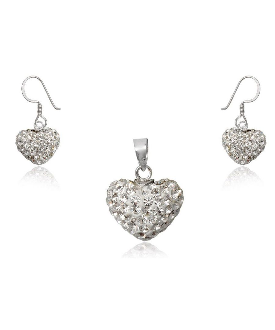 Image for White Crystal Heart Set and 925/1000 Silver