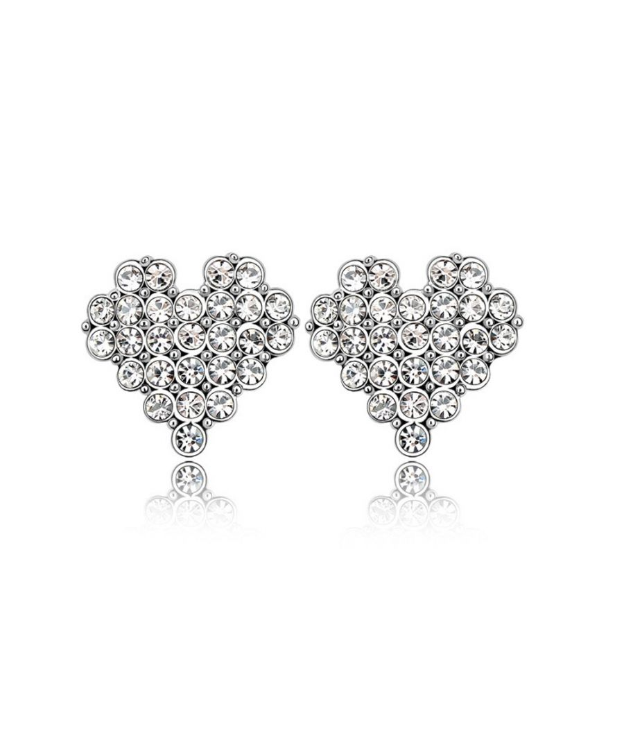 Image for Swarovski - Heart Earrings made with a white Crystal from Swarovski