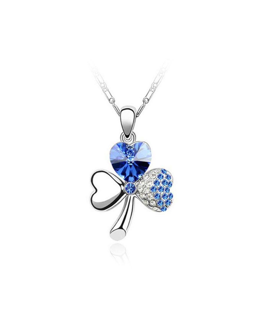 Image for Swarovski - Clover Pendant made with a Blue Crystal from Swarovski