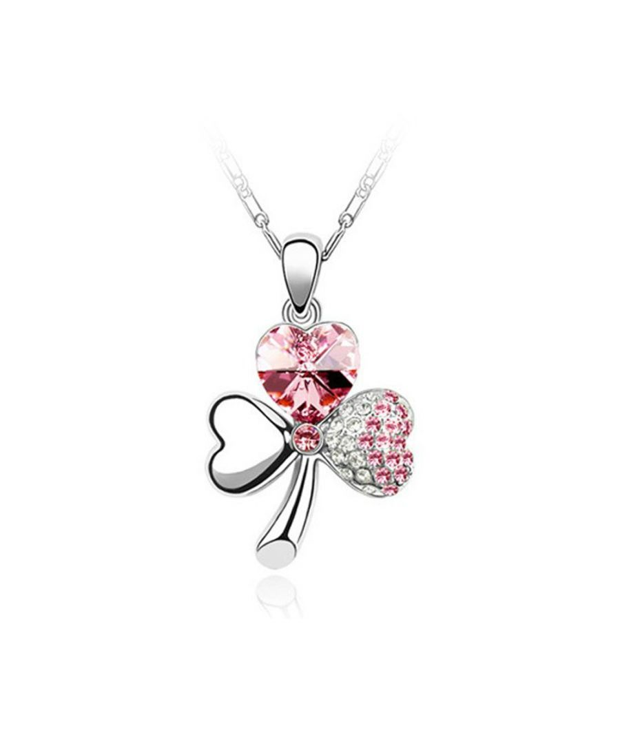 Image for Swarovski - Clover Pendant made with Pink Crystal from Swarovski