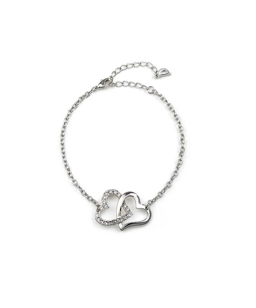 Image for Swarovski - Double Heart Bracelet made with a white Crystal from Swarovski
