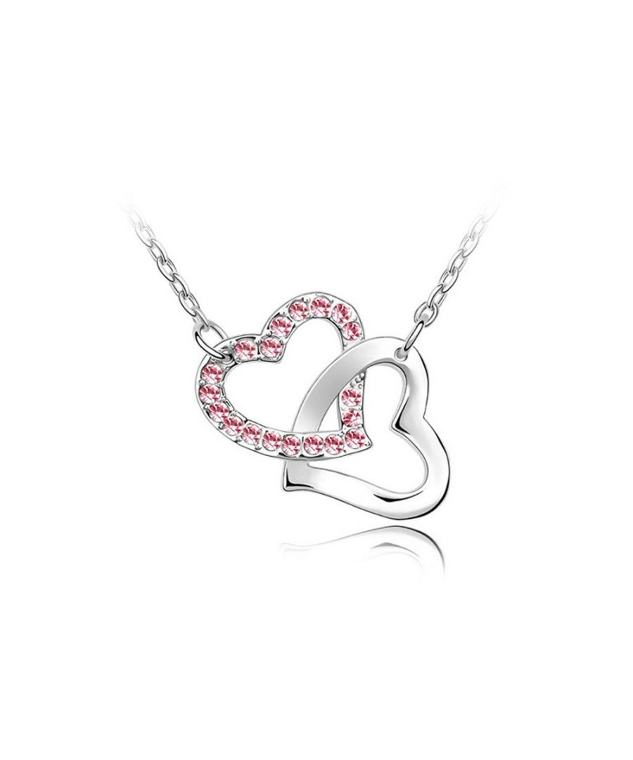 Image for Swarovski - Double Heart Necklace made with a Pink Crystal from Swarovski and Rhodium plated