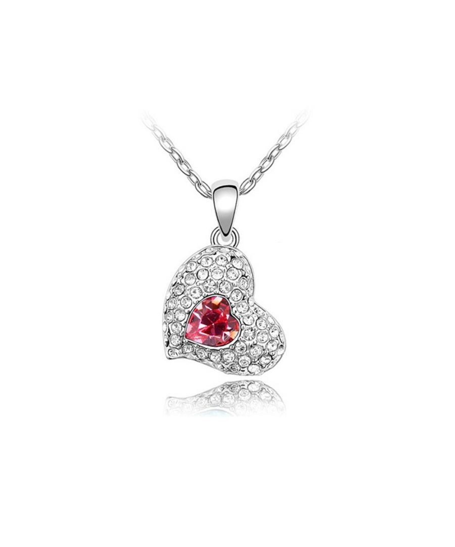 Image for Swarovski - Heart Necklace made with a Pink crystal from Swarovski