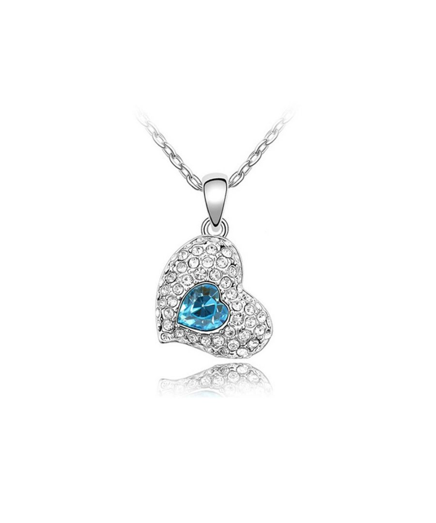 Image for Swarovski - Heart Necklace made with a Blue crystal from Swarovski