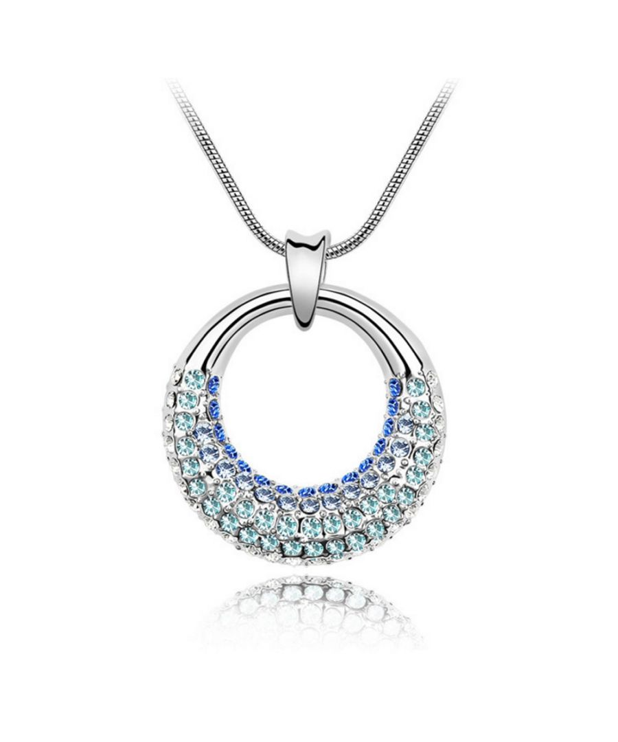 Image for Swarovski - White Gold Plated Pendant made with a Blue Crystal from Swarovski