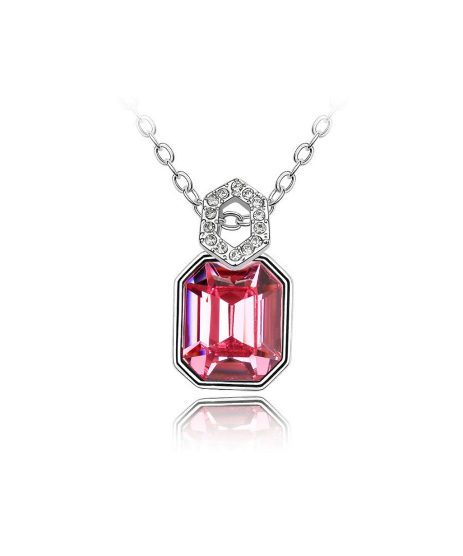 Image for Swarovski - Mirror Pendant made with a Pink Crystal from Swarovski