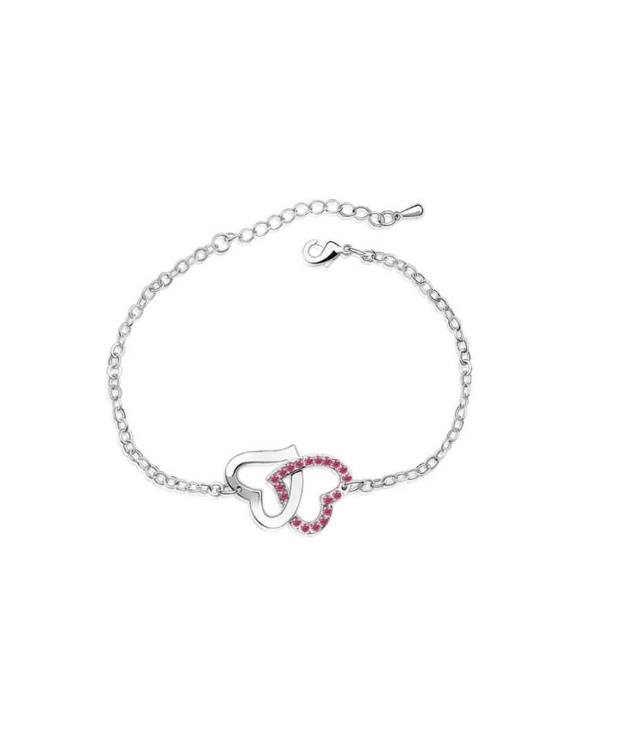 Image for Swarovski - Double Heart Bracelet made with a Pink Crystal from Swarovski
