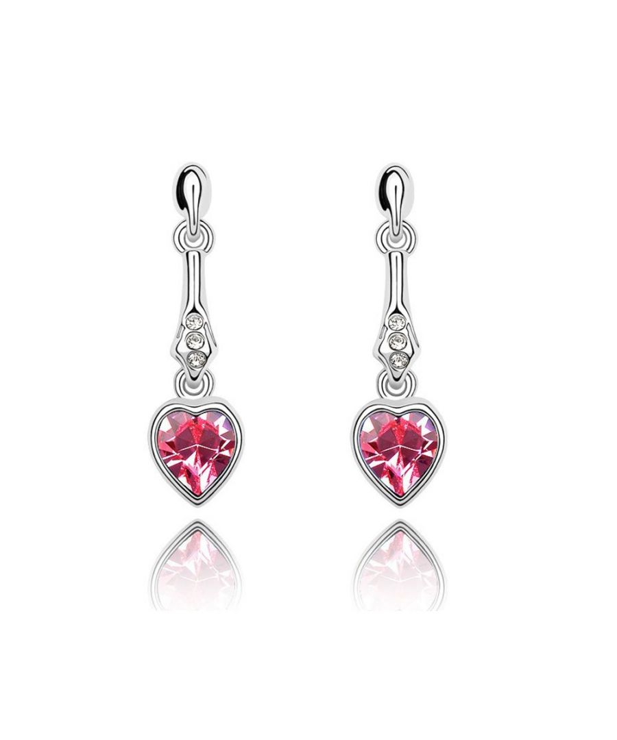 Image for Swarovski - Heart pendant Earrings made with a pink Crystal from Swarovski
