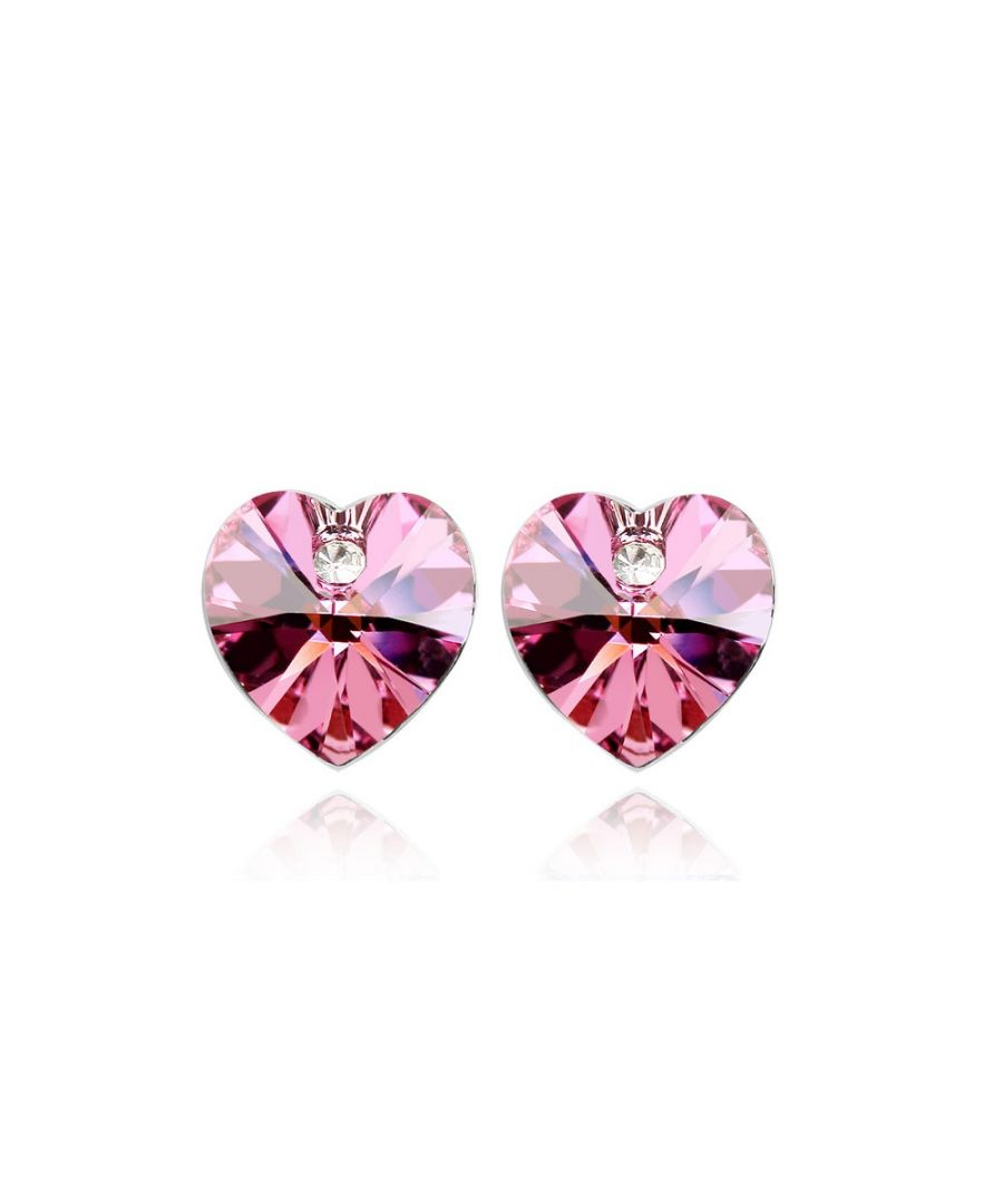Image for Swarovski - Heart Earrings made with a Pink Crystal from Swarovski