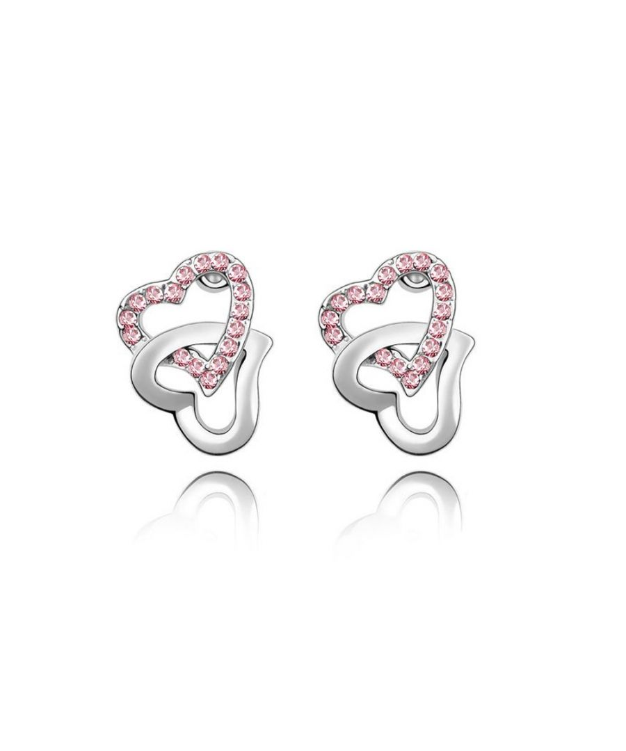 Image for Swarovski - Double Hearts Earrings made with a pink crystal from Swarovski