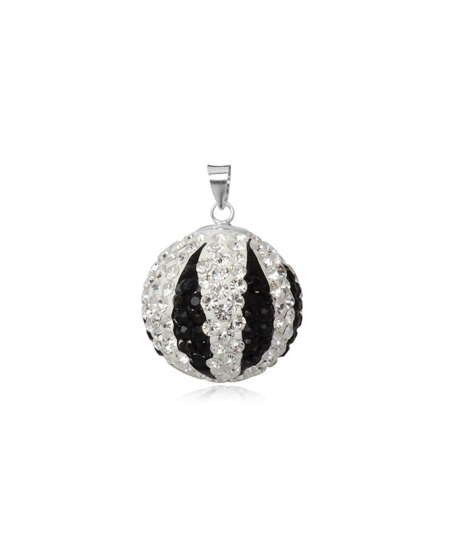 Image for Black and White Crystal Bead Pendant and 925 Silver