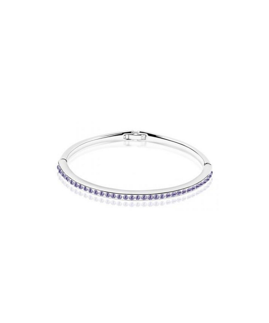 Image for Swarovski - Children Bangle Bracelet made with a Purple Crystal from Swarovski and White Gold Plated