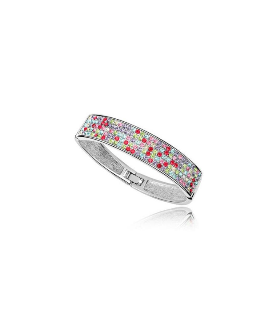Image for Swarovski - Bangle Bracelet made with a Multicolor Crystal from Swarovski and White Gold plated