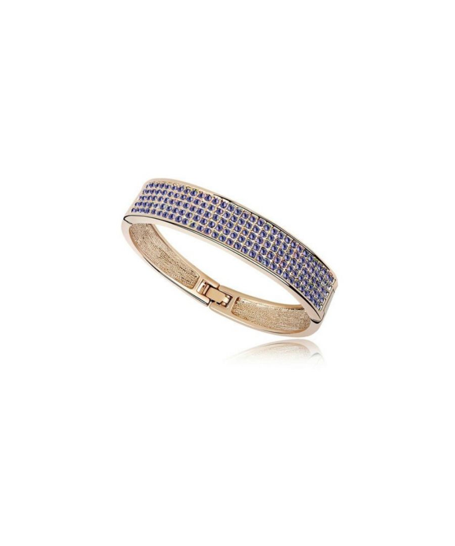 Image for Swarovski - Bangle Bracelet made with a Purple Crystal from Swarovski and Yellow Gold plated