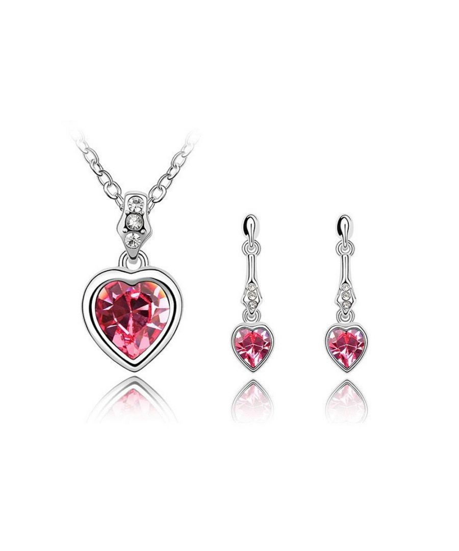 Image for Swarovski - Pendant and Earrings Set made with Pink Swarovski Crystal Elements