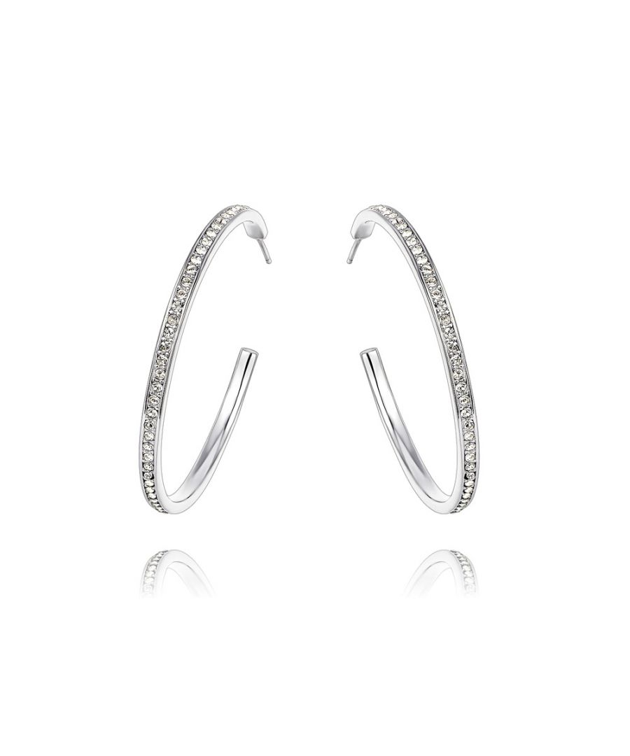 Image for Swarovski - White Swarovski Crystal Elements Hoop Earrings