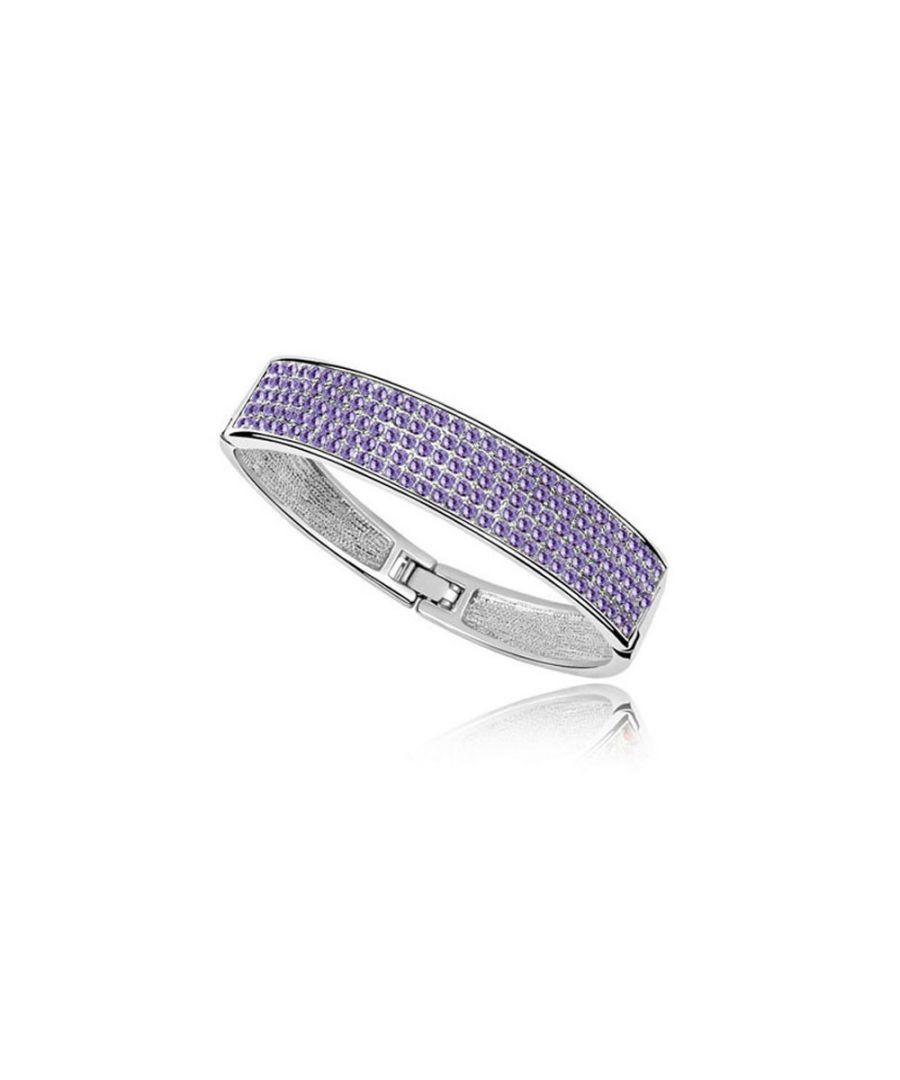 Image for Swarovski - Bangle Bracelet made with a Purple Crystal from Swarovski and White Gold plated