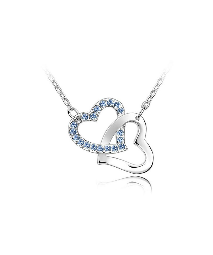 Image for Swarovski - Double Heart Necklace made with a Blue crystal from Swarovski and Rhodium Plated