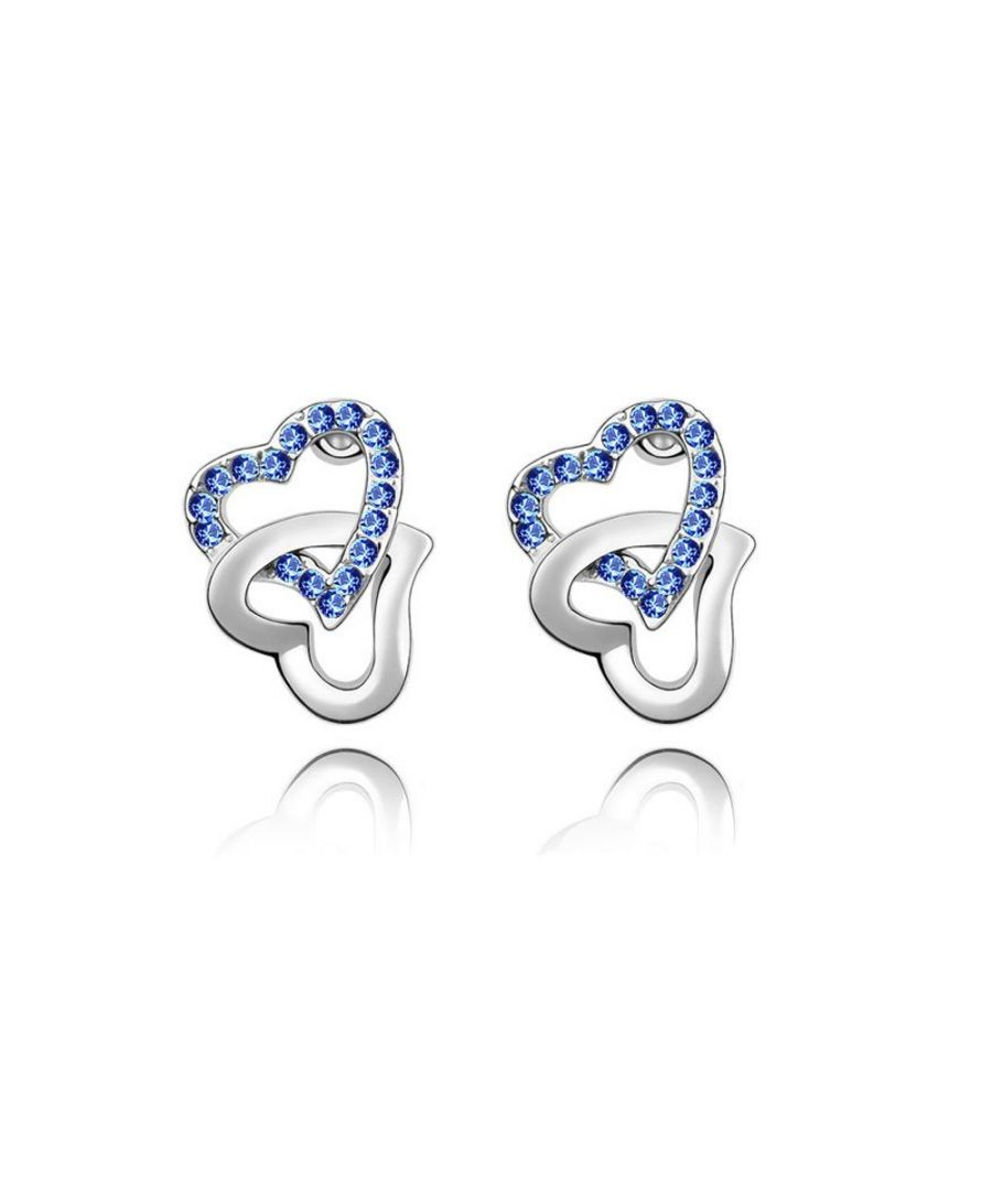 Image for Swarovski - Double Hearts Earrings made with a Blue Crystal from Swarovski