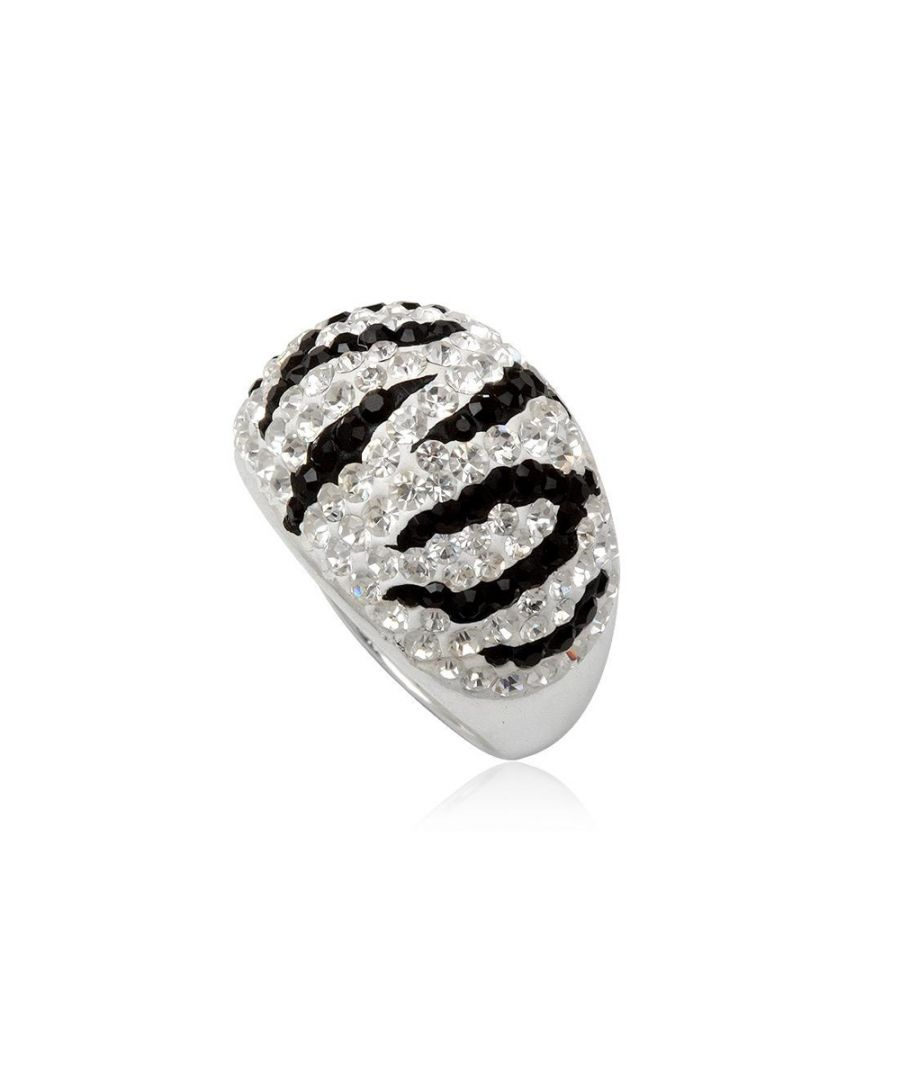 Image for White and Black Crystal Zebra Ring and 925 Silver