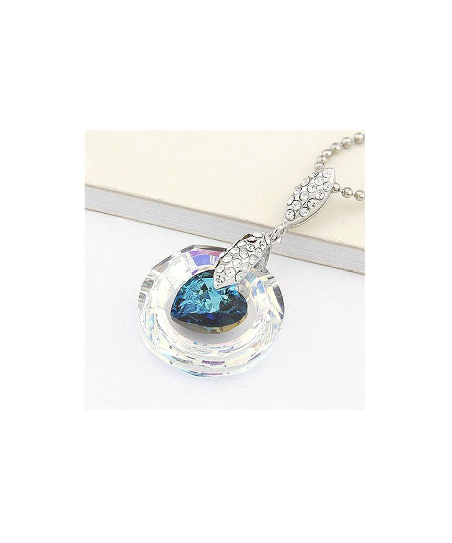 Image for Swarovski - Heart Pendant made with White Swarovski Crystal and blue