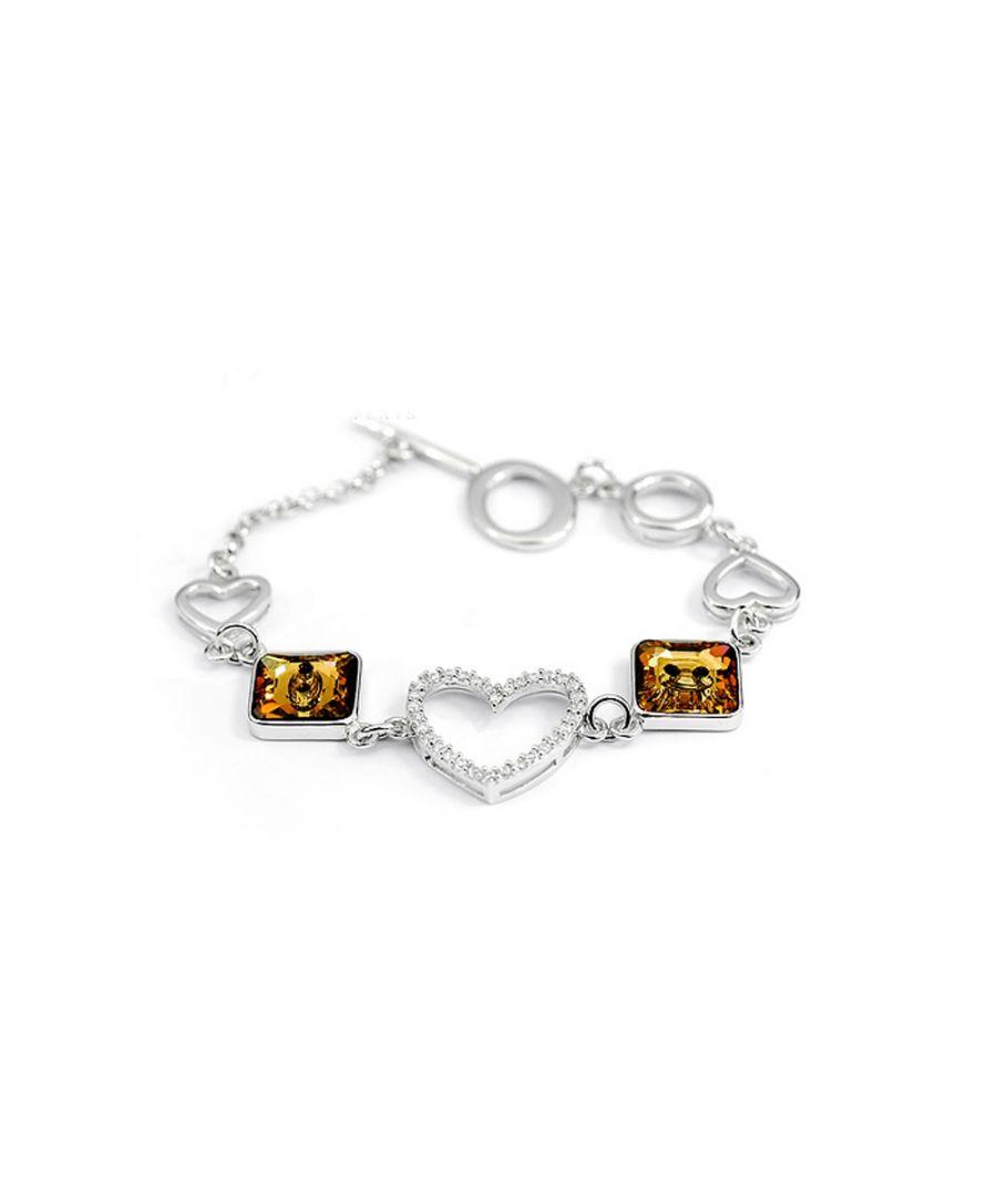 Image for Swarovski - Bracelet Heart made with White and Brown Swarovski Crystal Element