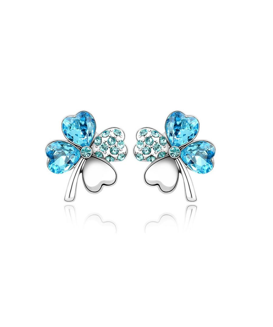 Image for Swarovski - Clover Earrings made with Clear Blue Swarovski Crystal Element