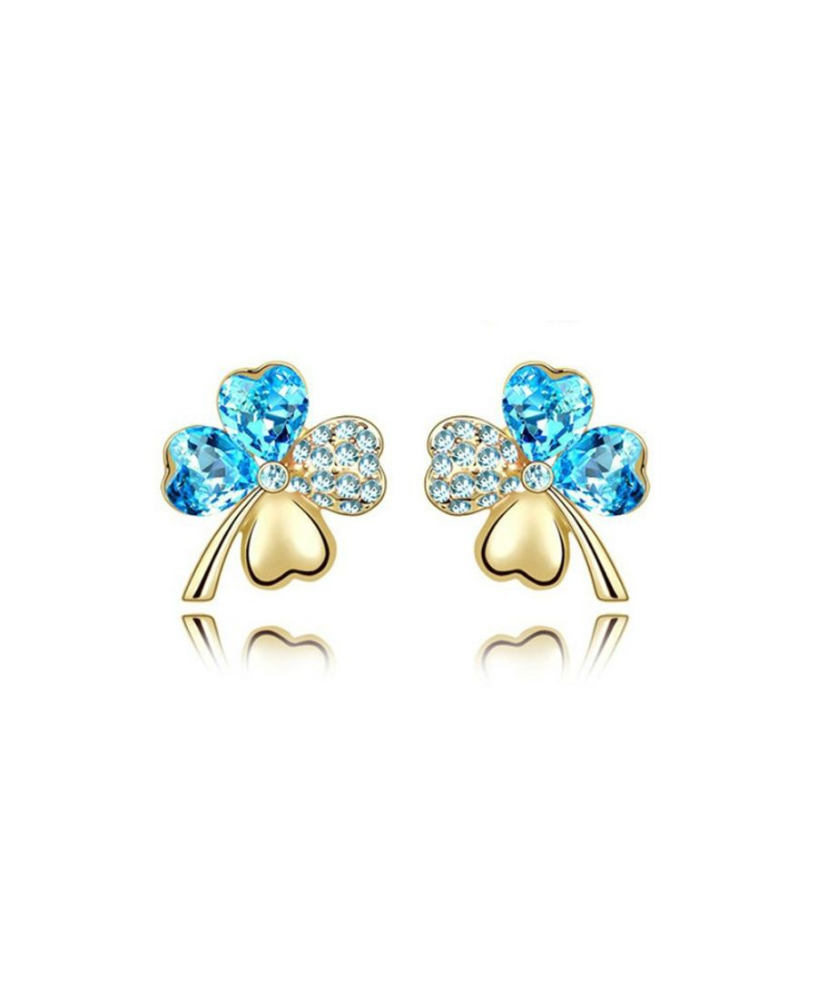 Image for Swarovski - Clear Blue Swarovski Crystal Element Clover Earrings