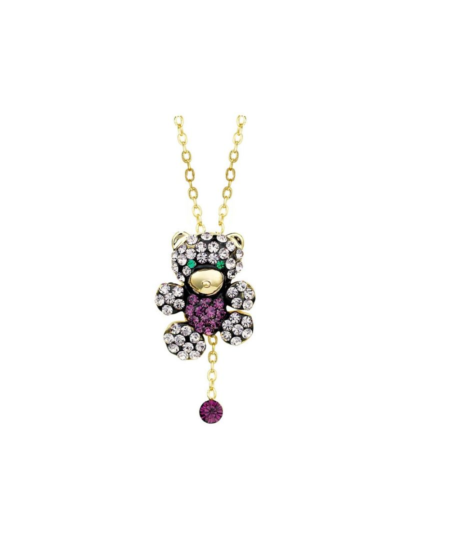 Image for Swarovski - Bear Pendant made with Purple and White Crystal from Swarovski