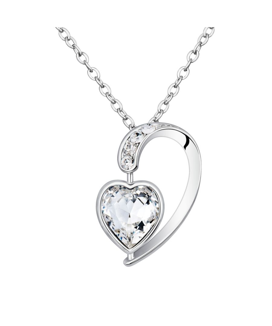 Image for Swarovski - White Swarovski Crystal Elements and Rhodium Plated Heart Pendant