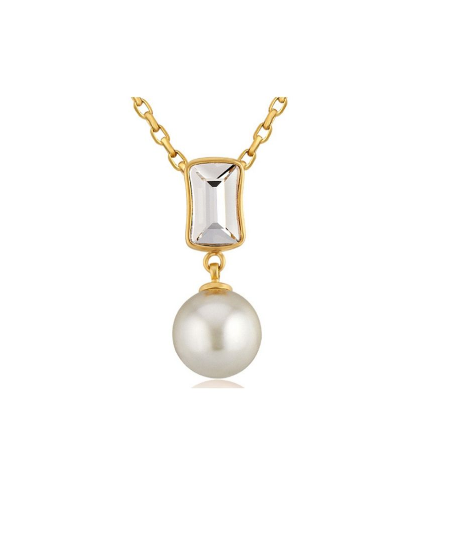Image for Swarovski - White Pearl and Swarovski Crystal Elements Pendant y Yellow Gold Plated