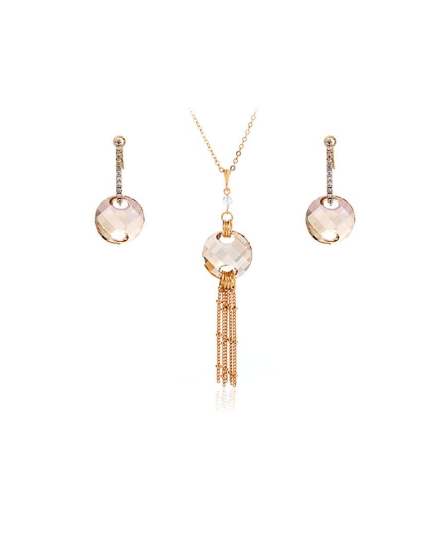 Image for Swarovski - Golden Swarovski Crystal Elements Necklace and Earrings Set