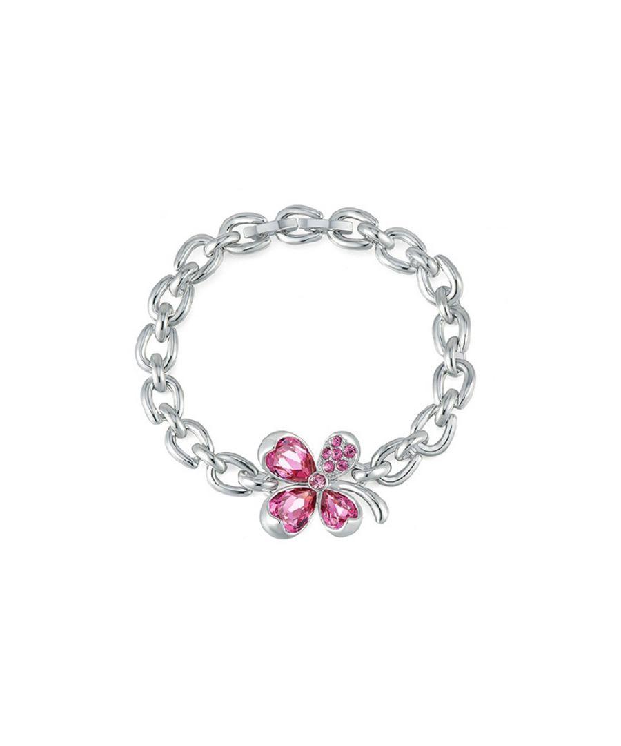 Image for Swarovski - Pink Swarovski Crystal Elements Clover Bracelet