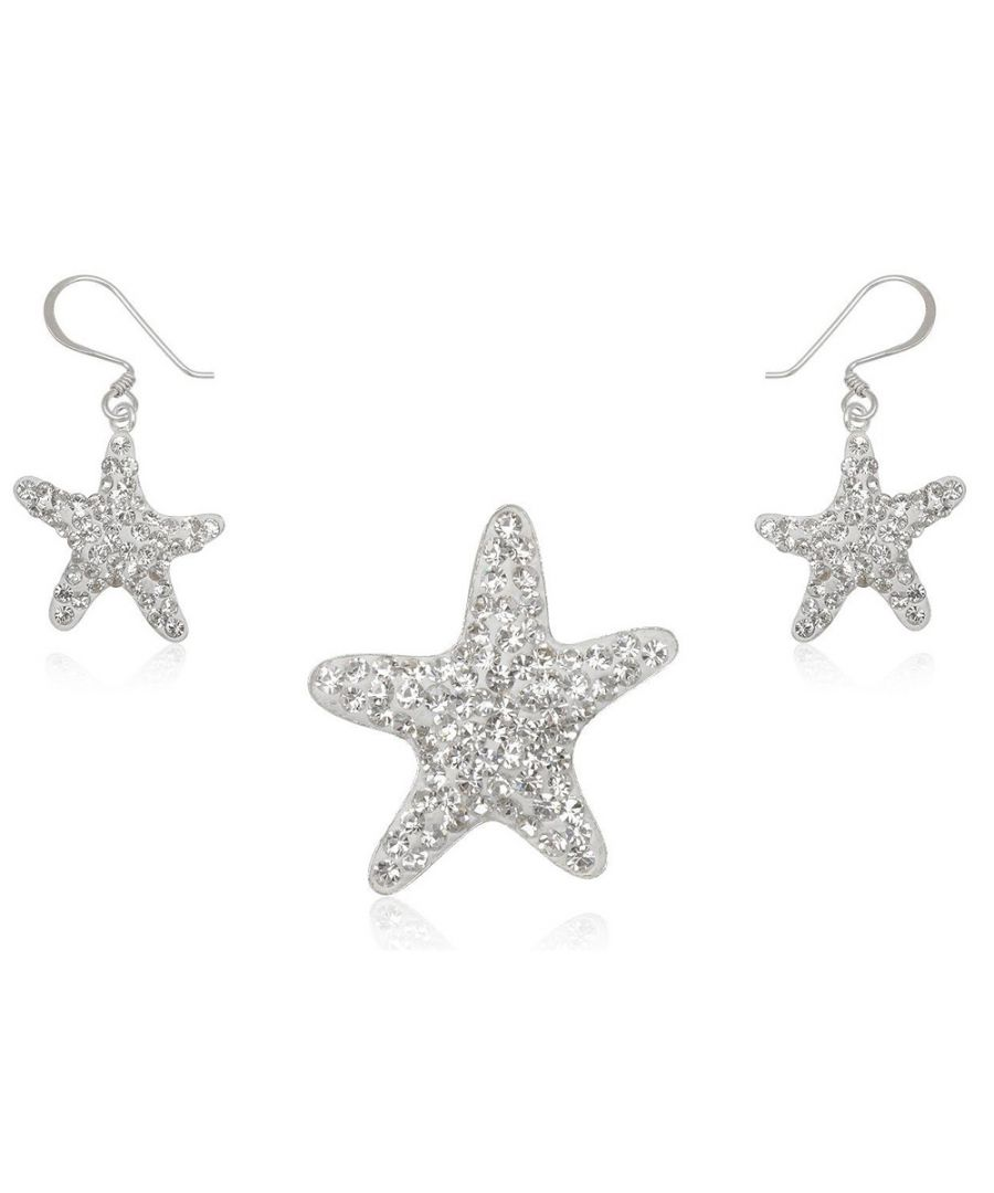 Image for Set Pendant and Earrings White Crystal Stars and 925 Silver