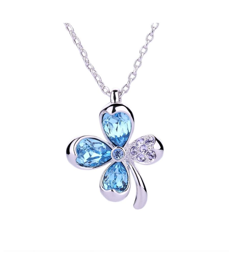 Image for Swarovski - Blue Swarovski Crystal Elements and Rhodium Plated Clover Pendant