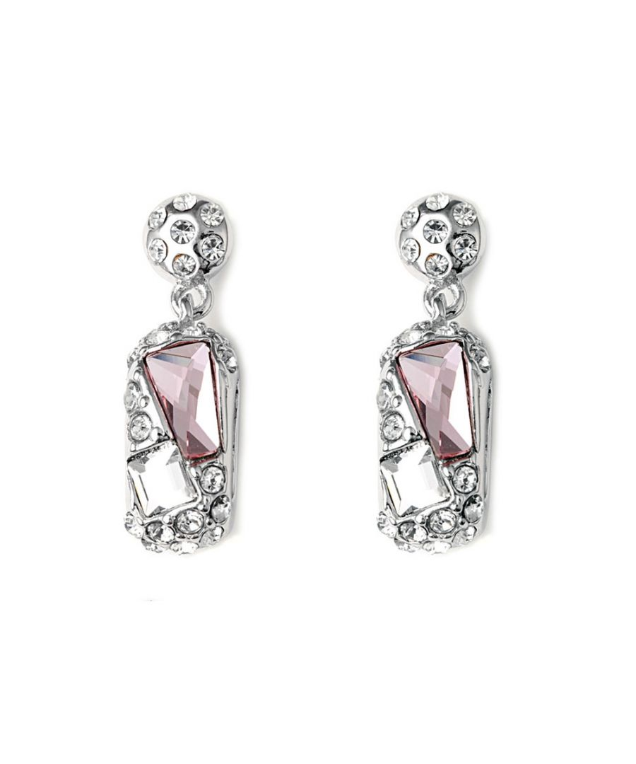 Image for Swarovski - Pink Swarovski Crystal Elements Earrings and Rhodium Plated