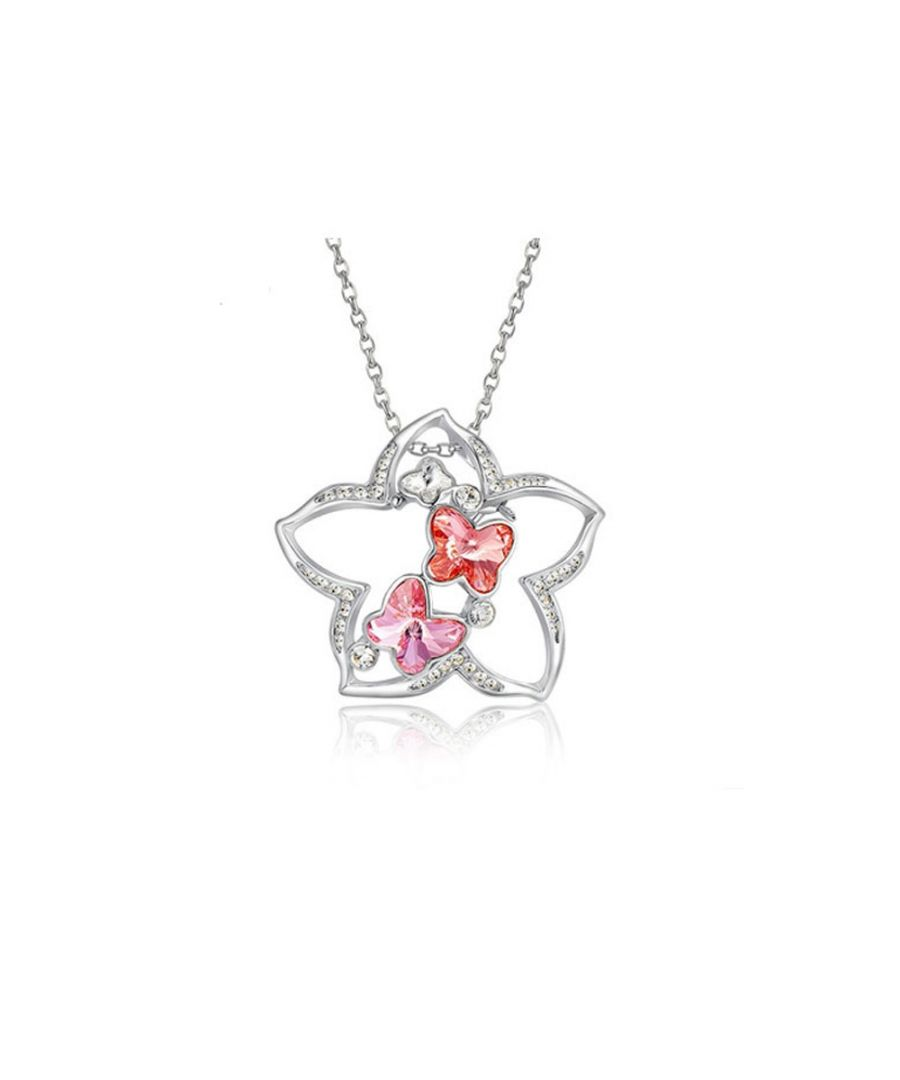 Image for Swarovski - Pink Swarovski Crystal Elements and Rhodium Plated Star Pendant-brooch