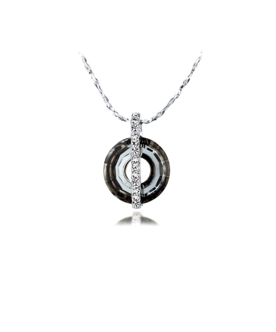 Image for Swarovski - Black Diamond Swarovski Crystal Elements and Rhodium Plated Circle Pendant